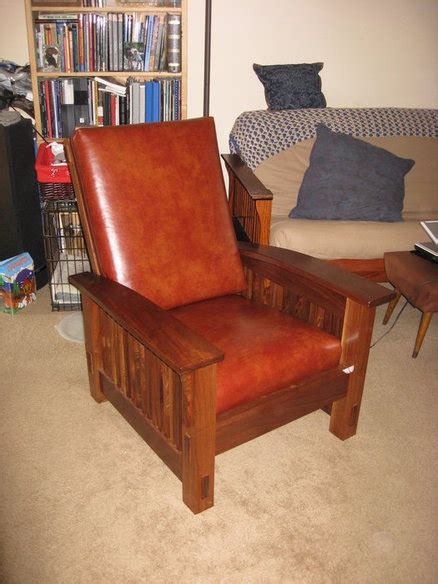 walnut morris chair  leather cushions  john
