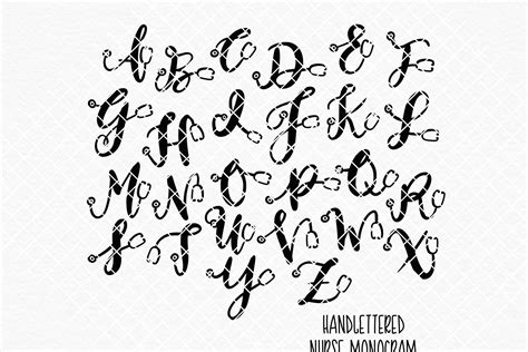 nurse monogram set hand lettered sofontsy