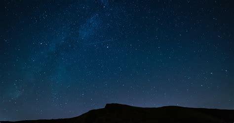 Stars Beautiful Night Sky Above Mountain Top Time Lapse