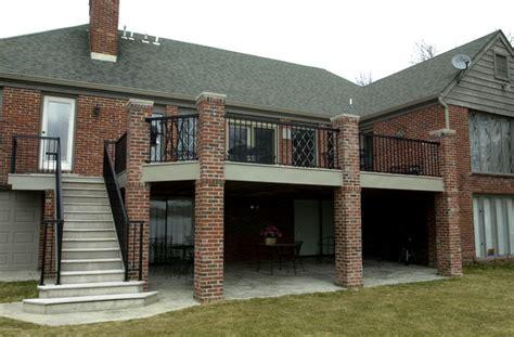 custom deck  brick columns