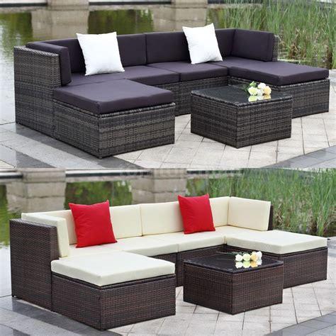 wicker settee set outdoor cushioned wicker patio set garden lawn sofa