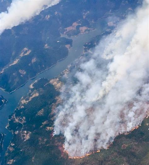 aerial   ruth lake wildfire highway  closed