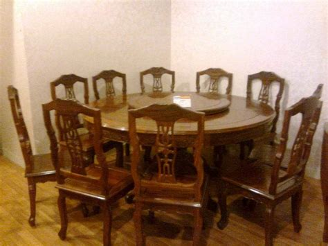 china antique wood dining set 1 table with 10 chairs
