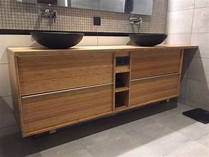 Meuble Bambou Salle De Bain : meuble double de salle de bain godmorgon en bambou massif salle de bains bambou et ikea ~ Teatrodelosmanantiales.com Idées de Décoration