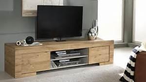 Meuble tv design en bois 2 portes emiliano mobilier moss for Deco cuisine pour meuble tv bois