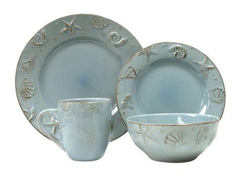 dinnerware sets pottery beach cape aqua thomson coastal cod pc nautical amazon themed dish shell decor dishes tableware beachy plates