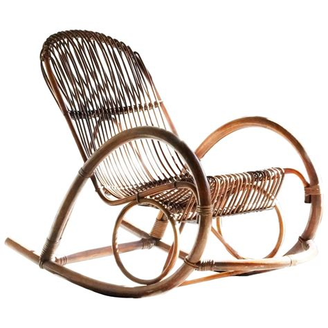 mid century modern rattan rocking chair by franco albini