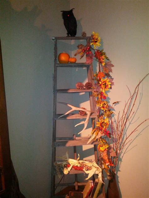 old ladder with fall decore seasonal decorating Pinterest