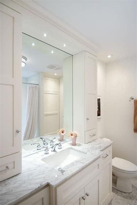 master bathroom visualization white cabinets chrome