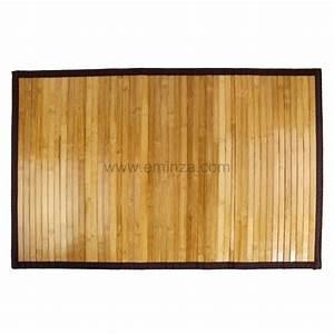 tapis de bain lattes foncees bois bambou tapis salle With tapis salle de bain bambou