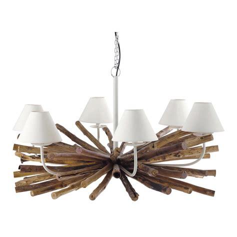 plafonnier chambre bébé garçon lustre 6 branches en métal et manguier d 109 cm rivage