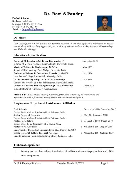 Faculty Resume by Dr Ravi S Pandey Resume For Assistant Professor Research Scientist