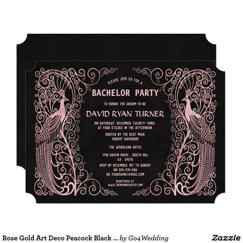 Rose Gold Art Deco Peacock Black Wedding Invite Zazzle