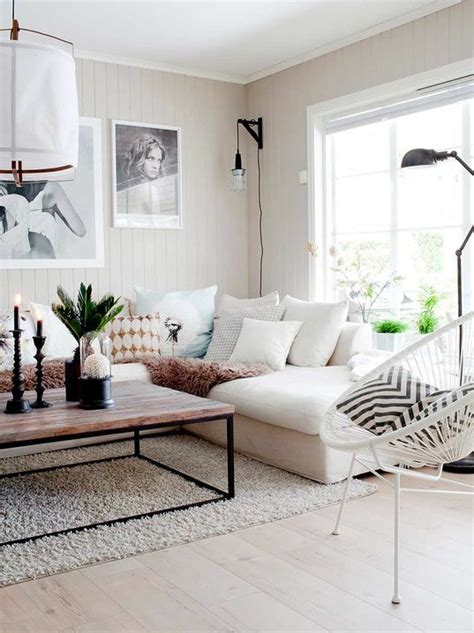 salon avec  canape blanc  idees deco dont sinspirer
