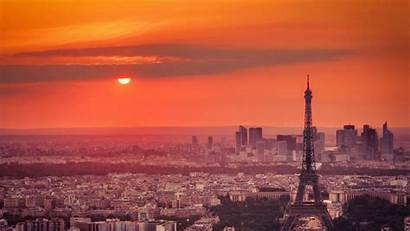 Paris Eiffel Sunset Orange Sky Cityscape Tower