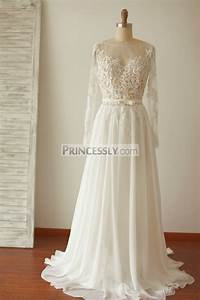 a line long sleeves backless lace chiffon wedding dress With chiffon wedding dresses with sleeves
