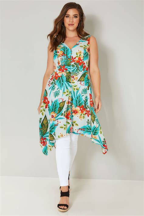 floral cross forms blue multi floral print sleeveless top with cross over