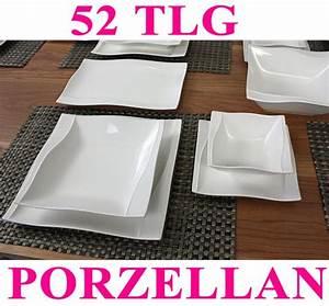 Teller Set Günstig : porzellan 52 76 tlg tafelservice eckig teller set geschirr 12 personen service n ebay ~ Orissabook.com Haus und Dekorationen