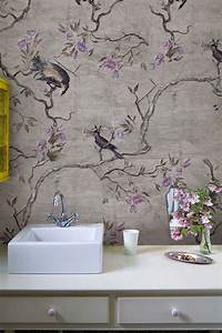 wall deco bathroom wallpaper interiorator With markise balkon mit wall deco tapete