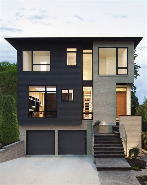 brown gray house shutter colors exterior  brick structure  black shutters minimalist house