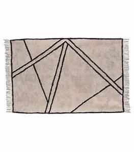 tapis style berbere 100 coton noir et blanc creme 9060cm With tapis berbere blanc