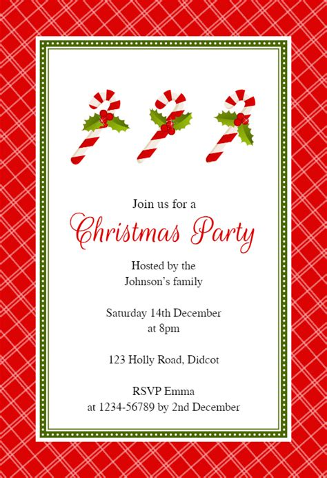 red checkered frame christmas invitation template