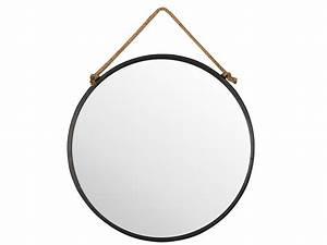 Miroir Rond Suspendu : miroir mural rond en m tal noir suspendu par une corde tali ~ Teatrodelosmanantiales.com Idées de Décoration