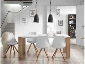 table salle a manger bois blanc chaise de salle a manger With salle À manger contemporaineavec table salle a manger blanche et bois