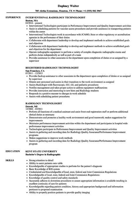 Technologist Resume by 98 Radiologic Technologist Resume Description