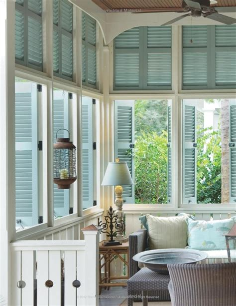 southern porch with shutters set up as a sitting room