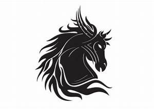 Horse head silhouette tribal tatoo template Vector | Free ...