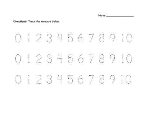 printable number trace worksheets activity shelter