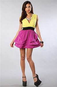 Reverse The Color Block Dress in Yellow and Purple in ...