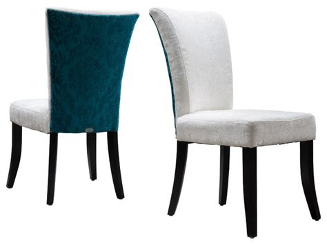 fabric dining chairs set of 2 ivory teal