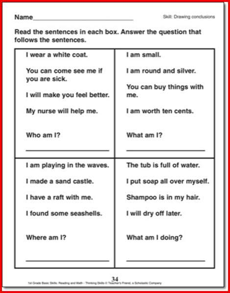 drawing conclusions worksheets 1st grade