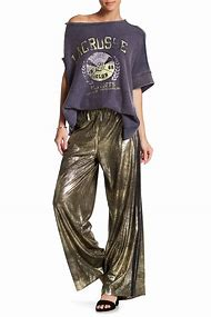 Free People Vegan Leather Track Pant Gold
