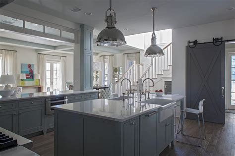 gray kitchen island   apron sinks cottage kitchen