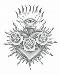 realistic sacred heart drawing - Google Search | Tattoo ...