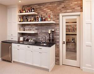 Floating bar shelves home bar traditional with beige