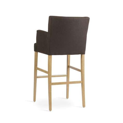 chaise de bar 4 pieds tabouret de bar avec accoudoirs en bois et tissu shawn