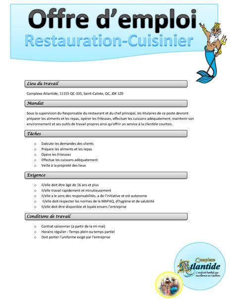 offre emploi cuisine offre d emploi cuisinier