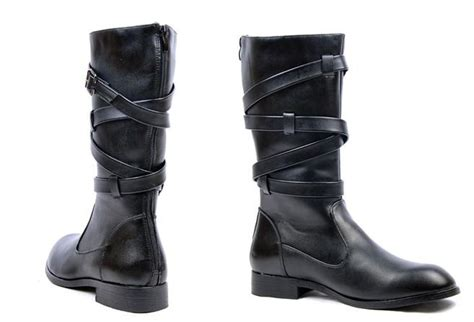 mens leather shoes knee high bootspunk  zipper soft