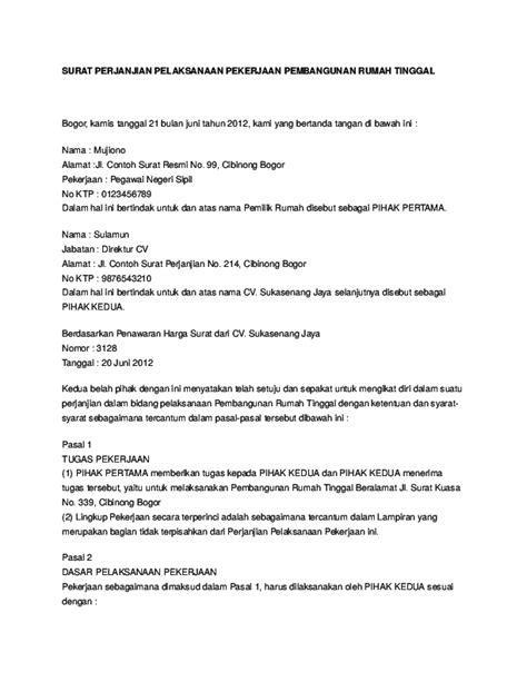 Contoh Surat Perjanjian Desain Rumah
