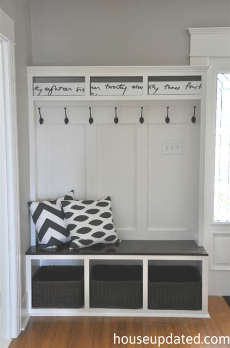 how to build a mudroom bench with cubbies entry storage bench hooks baskets more house updated