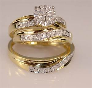 his and her39s diamond yellow gold trio wedding set With gold wedding ring sets for her