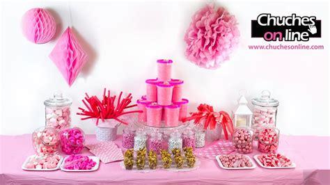 Mesa dulce color rosa para comunión de niña ¡No te lo