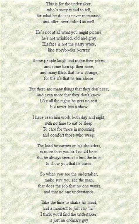 undertaker poem  nice  true funeral songs