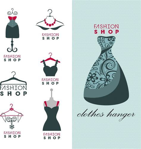 fashion shop logo sets isolated with dress display free vector in adobe illustrator ai ai