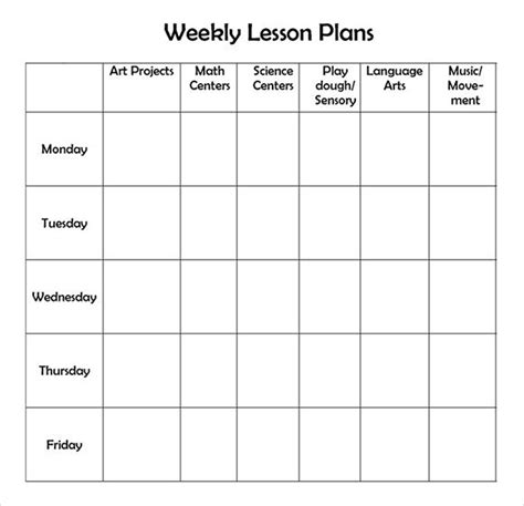 printable weekly lesson plan template education