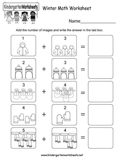 Winter Math Worksheet  Free Kindergarten Seasonal Worksheet For Kids